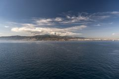A suburb of Algeciras Spain from Queen Elizabeth. Algeciras is a port city in the south of Spain, and is the largest city on the Bay of Gibraltar. The Port of royalty free stock photo