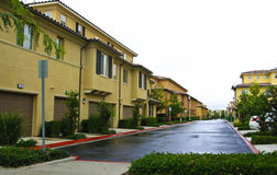 Suburb Apartment Complex. Typical Irvine California Suburb Apartments on an overcast day with wet roads Royalty Free Stock Photos