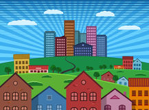 Suburb and City on Green Hill flat design illustration Royalty Free Stock Photo