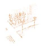 Suburb - drawing. stock illustration