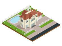 Suburb House Building Composition royalty free illustration