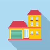 Suburb house icon, flat style Royalty Free Stock Image
