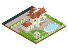 Suburb House Isometric Composition Royalty Free Stock Photography