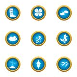 Suburb icons set, flat style vector illustration