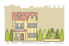 Suburb landscape with private separate house city background Line art Stock Photos