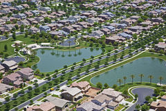 Suburb with man made lakes Stock Photos