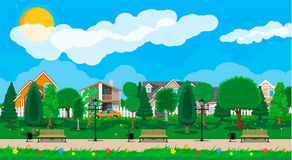 Suburb park concept stock illustration