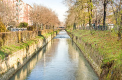 suburb river canal - Bologna Reno river Royalty Free Stock Images