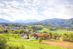 Suburb of Salzburg. Picturesque suburb of city Salzburg are in the foothill of the Alps Stock Photos
