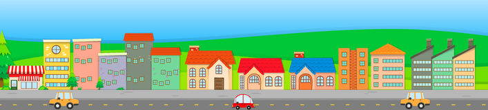 Suburb scene with houses and cars Stock Photos