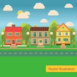 Suburb street with family houses. In flat style.Vector illustration Royalty Free Stock Photo