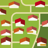 Suburb (vector). Simple illustration of a suburban residential place (vector royalty free illustration