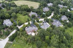 Suburban Aerial Luxury Home Neighborhood Stock Photo