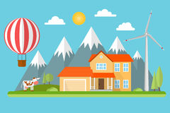 Suburban american house in the mountains. Among the trees with wind turbine, air balloon and cow. Green energy concept. Vector illustration Stock Photos