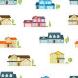 Suburban american houses seamless pattern. Stock Image