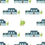 Suburban american houses seamless pattern. Stock Photos