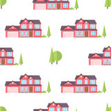 Suburban american houses seamless pattern. Stock Photography