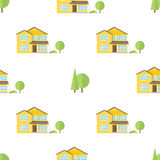 Suburban american houses seamless pattern. Stock Images