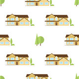 Suburban american houses seamless pattern. Royalty Free Stock Image