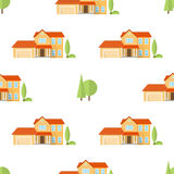 Suburban american houses seamless pattern. Stock Photo