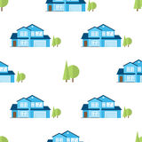Suburban american houses seamless pattern. Royalty Free Stock Photography