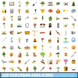 100 suburban area icons set, cartoon style Stock Photos