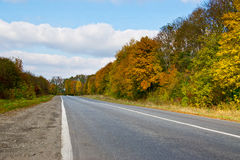 Suburban autumn fall road at sunny day Royalty Free Stock Photography