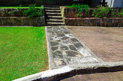 Suburban backyard with lawn and plantings. A neat suburban backyard with lawn and plantings in Sydney, Australia Stock Photography