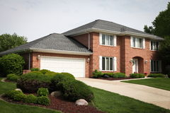 Suburban Brick House Stock Photo