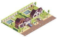 Suburban Buildings Community Composition vector illustration