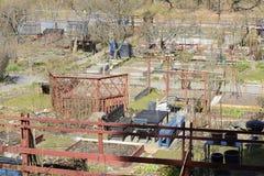 Suburban community garden allotment plots Stock Images