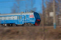Suburban electric train blue. The photo show the suburban electric train in moscow region Royalty Free Stock Photo