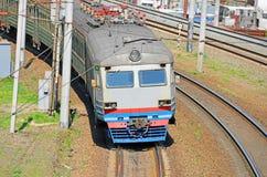 Suburban electric train locomotive Stock Photo