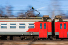 Suburban electric train. The photo shows the suburban electric train in moscow region Stock Images