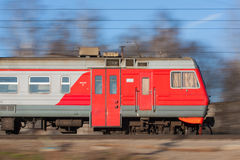 Suburban electric train two. The photo shows the suburban electric train in moscow region Royalty Free Stock Photos