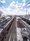 Suburban electric trains. Infrared photography Stock Photo