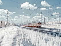 Suburban electric trains. Infrared photography Stock Images