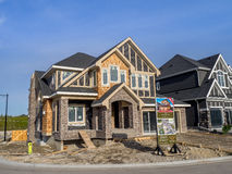 Suburban estate home under construction Stock Photography