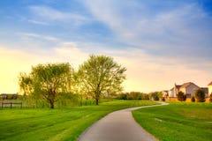 Suburban evening. Quiet summer evening scene in suburban Indianapolis, Indiana royalty free stock images