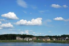 Suburban Executive Homes on Lake Royalty Free Stock Images