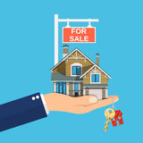 Suburban family house set in hand. Countryside wooden and brick house icon. Key. For sale placard. Real estate. Vector illustration in flat style Royalty Free Stock Photo