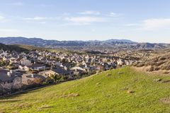 Suburban Fields, Hills and Homes Royalty Free Stock Photos
