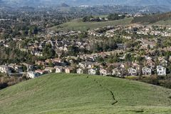 Suburban Hills, Homes, Meadows and Trails Royalty Free Stock Photo