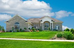 Suburban Home. A beautiful brick home in the suburbs in Michigan, USA Royalty Free Stock Image