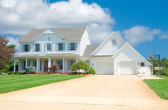 Suburban Home. A beautiful vinyl siding home in the suburbs in Michigan Royalty Free Stock Photo