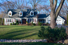 Suburban Home in Burr Ridge Illinois from Curb Stock Image