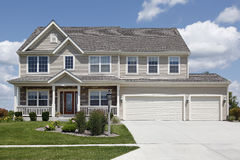 Suburban home with double garage Royalty Free Stock Photos