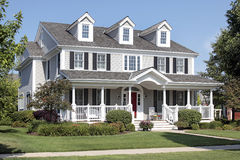 Suburban home with front porch. Large suburban home with front porch and arched entry Royalty Free Stock Image