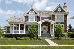 Suburban home with white columns Stock Photography