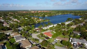 Suburban homes aerial view stock video